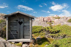 banheiro de madeira